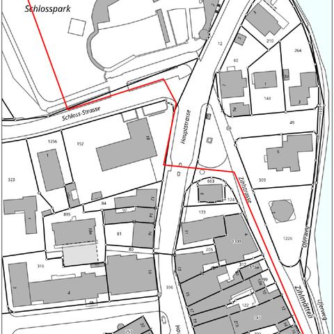 Plan Bereich der Sanierungsarbeiten. Vergrösserte Ansicht
