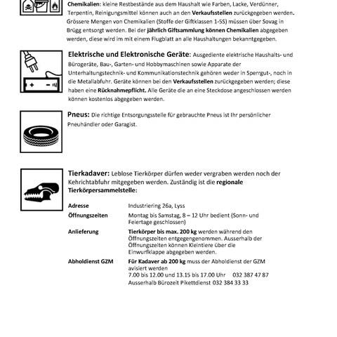 Sonderabfälle Seite 2. Vergrösserte Ansicht